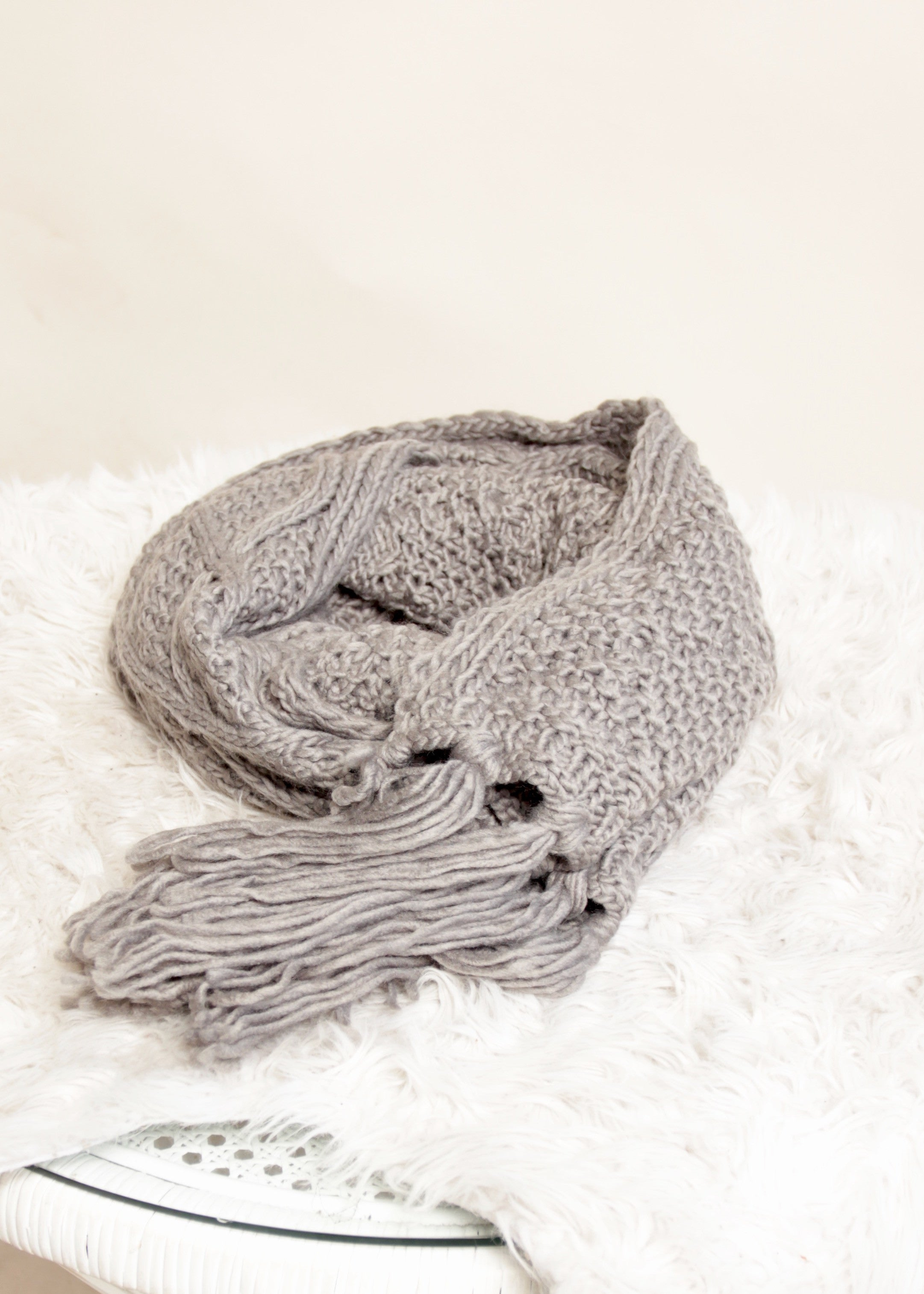 Luxe Knit Scarf - Grey