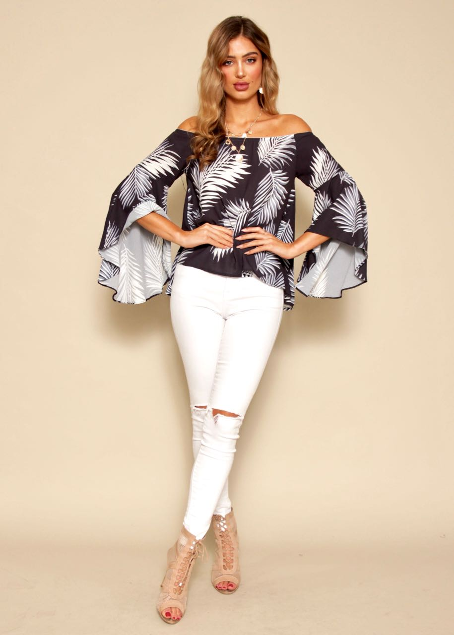 Hearts Collide Off Shoulder Top - B&W Palms