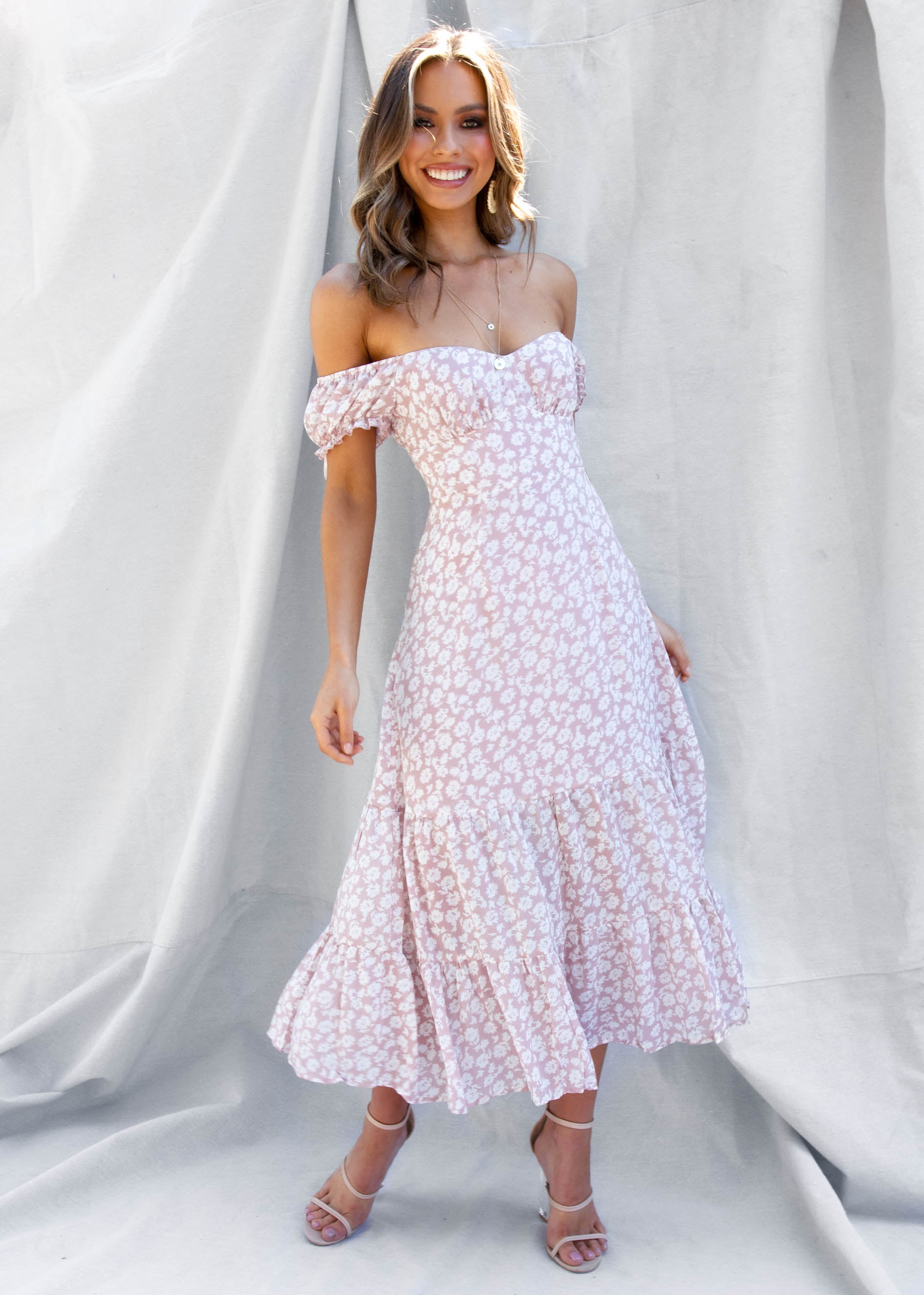 When In Rome Midi Dress - Blush Floral