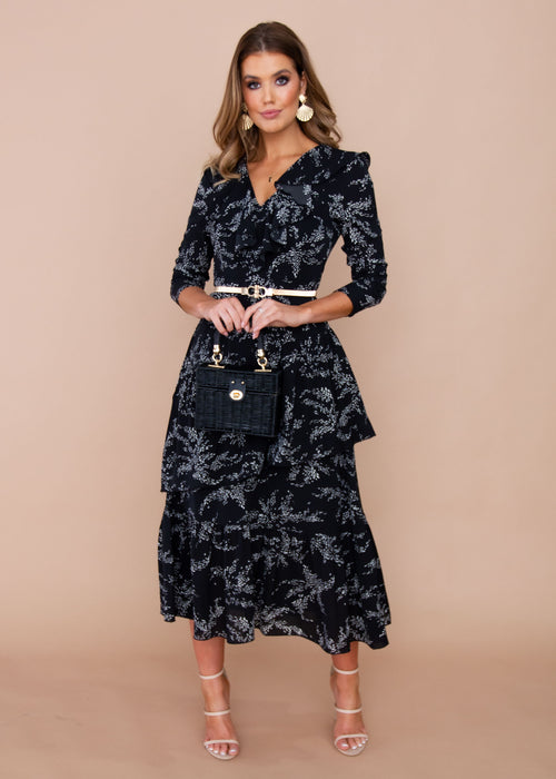 Aperol Maxi Dress - Black Leaf