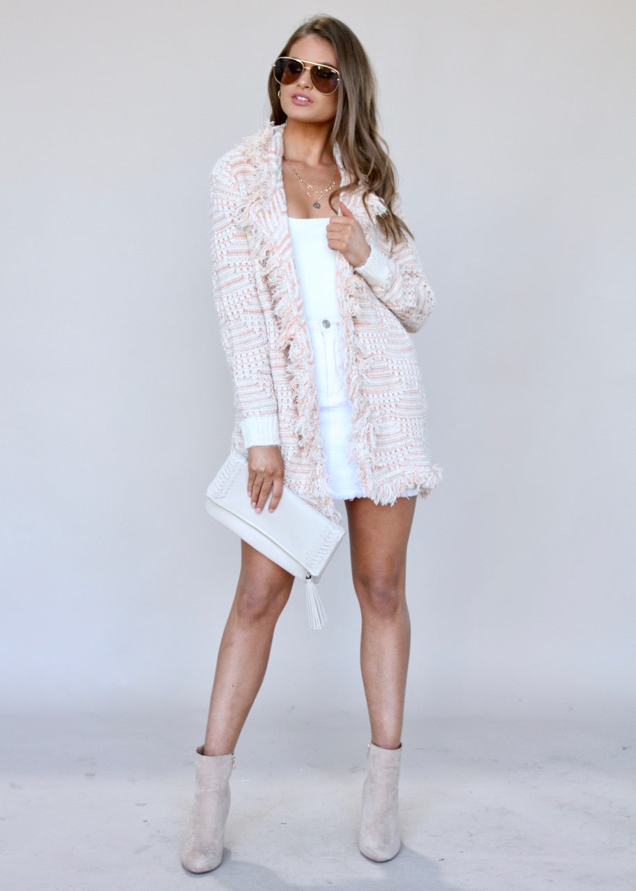 Going Steady Knit Cardigan - Blush