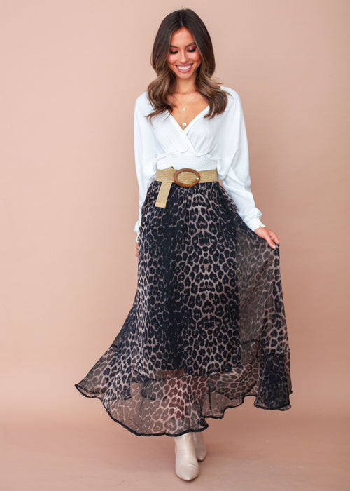 Knew Better Midi Skirt - Black Leopard