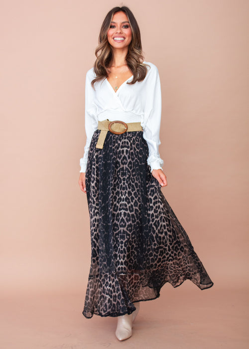 Women's Knew Better Midi Skirt - Black Leopard