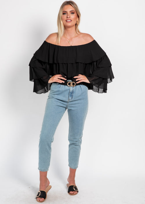 Senorita Off The Shoulder Blouse - Black