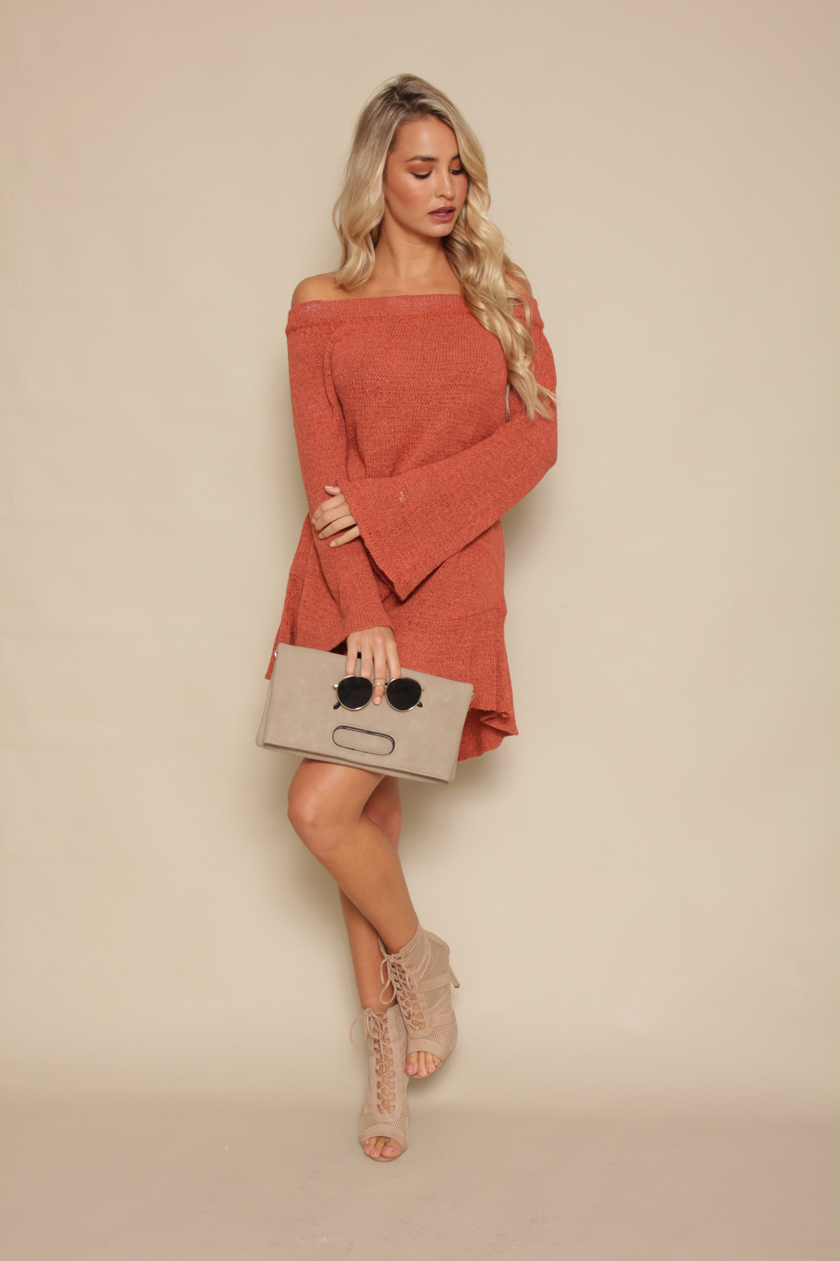 Into My Arms Off Shoulder Dress - Rust