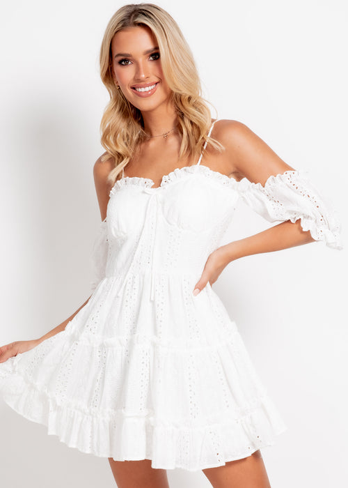 True Lover Dress - White Anglaise