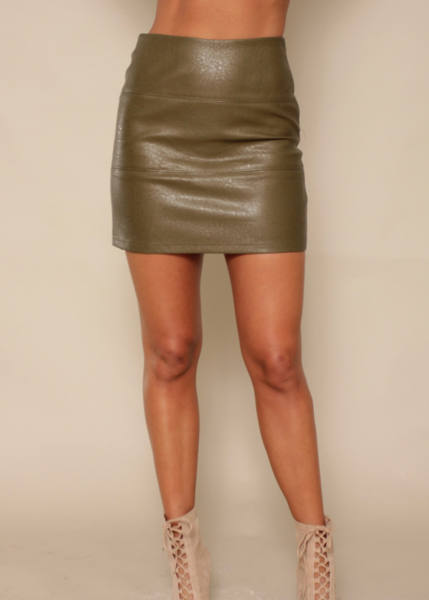 Hollywood Nights PU Skirt - Olive
