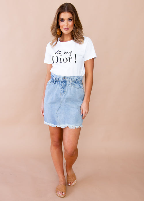 Summer Lights Denim Skirt - Faded Blue