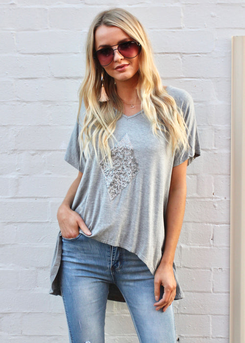 Basic Diamond Tee - Grey Marle