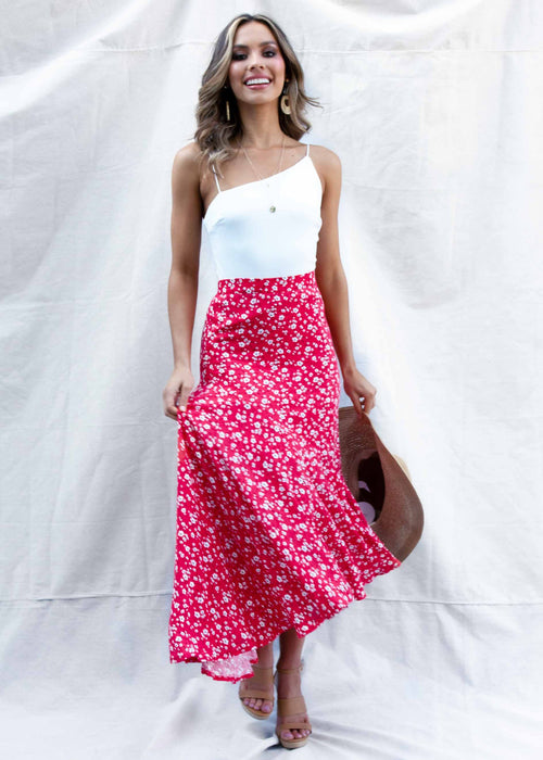 Untamed Asymmetrical Midi Skirt - Red Floral