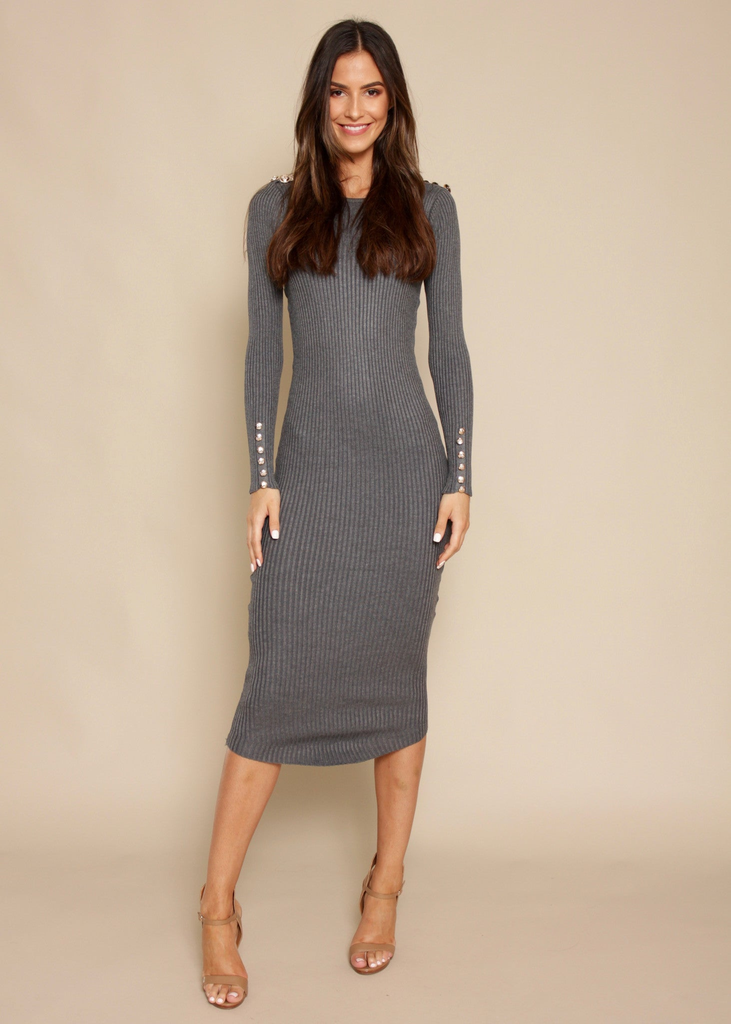 Young Blood Ribbed Midi Dress - Charcoal