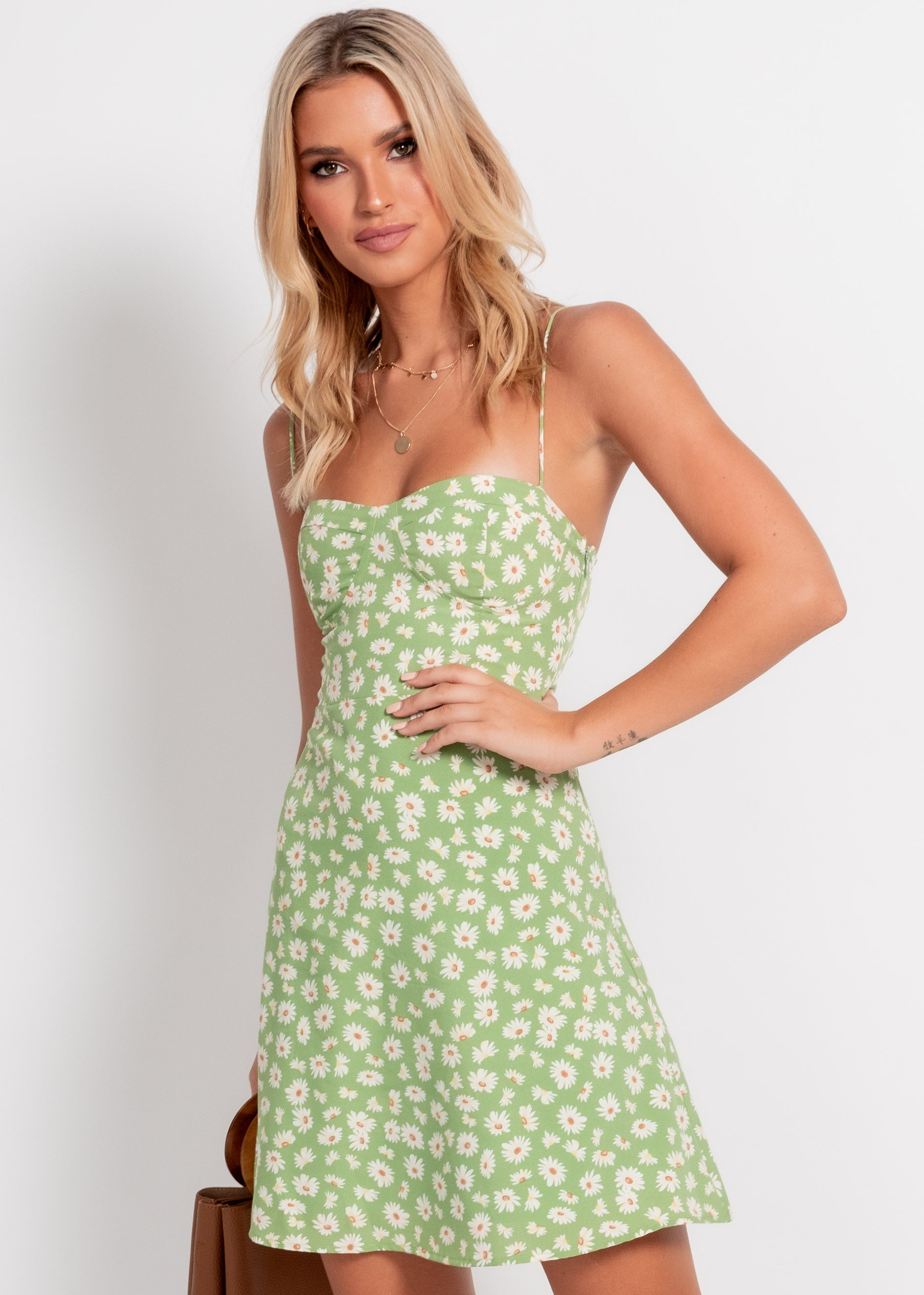 Stole The Show Dress - Green Floral