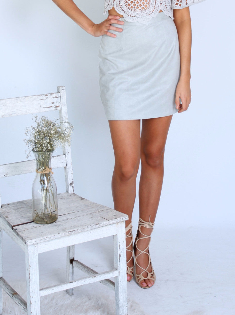 Road Trips Suede Skirt- Grey