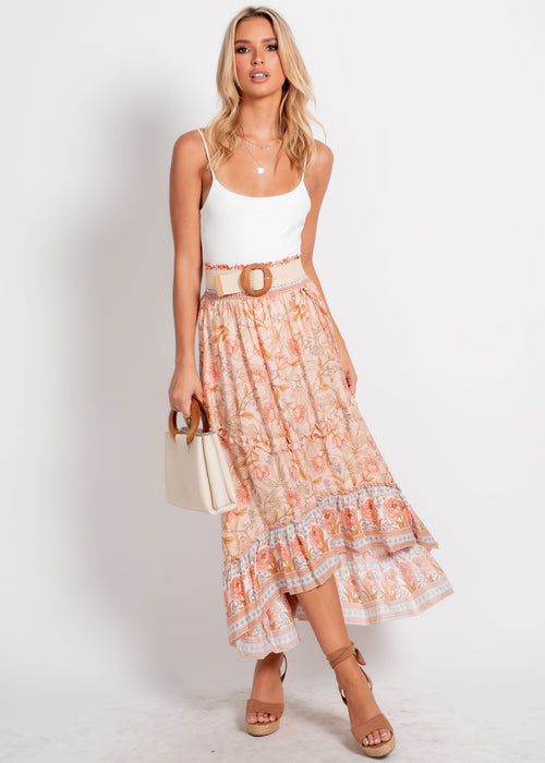 Endless Summer Midi Skirt - Peach Floral