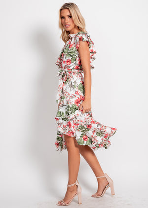 Feeling Pretty Dress - Red Floral