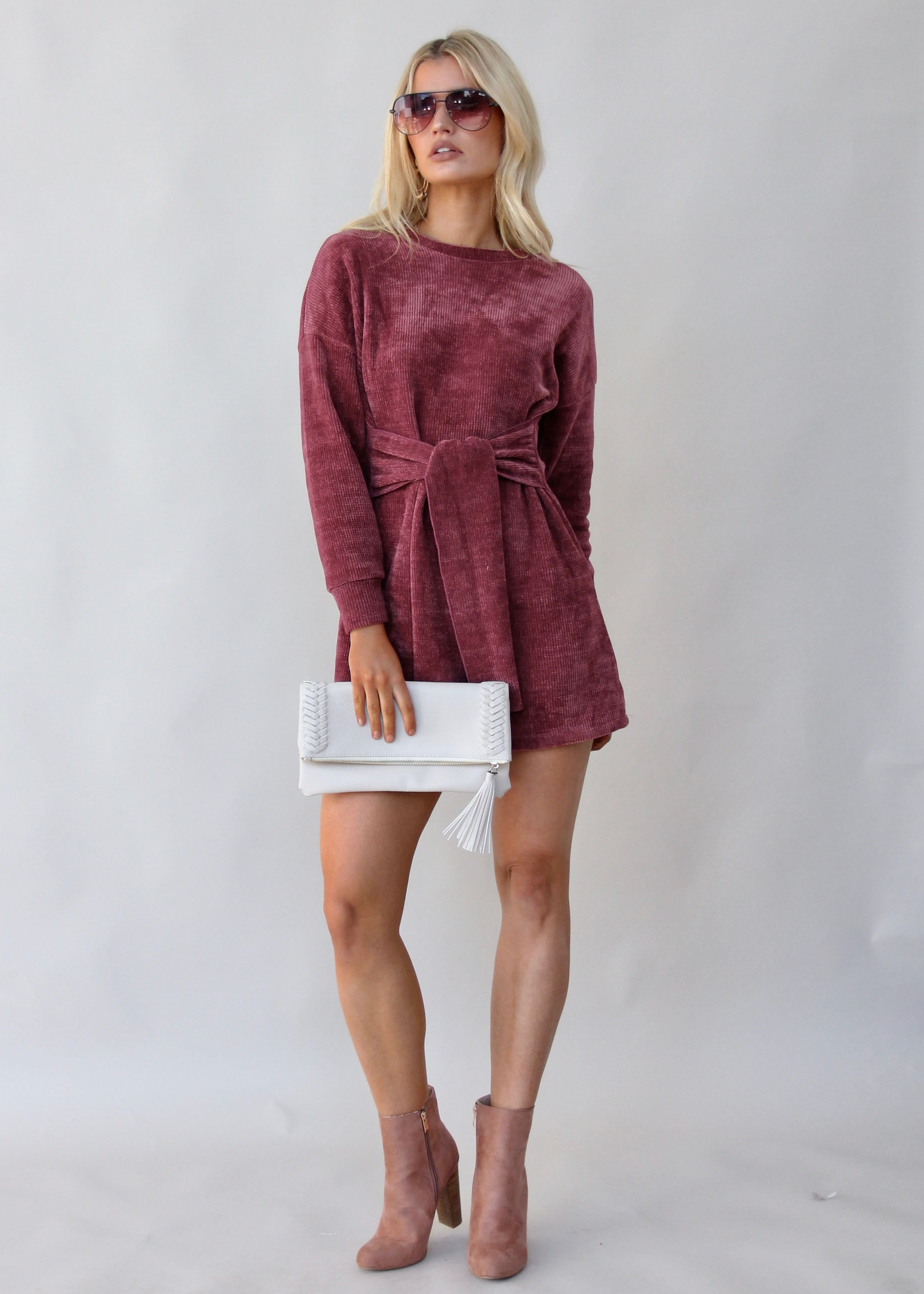 Hide Away Tie Knit Dress - Wine