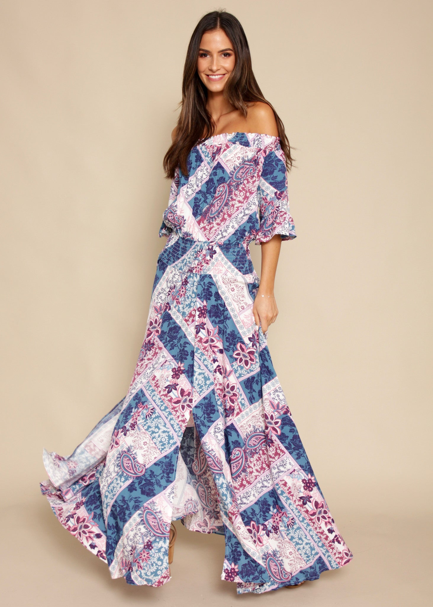 Boho Leah Maxi Dress - Persian Blue