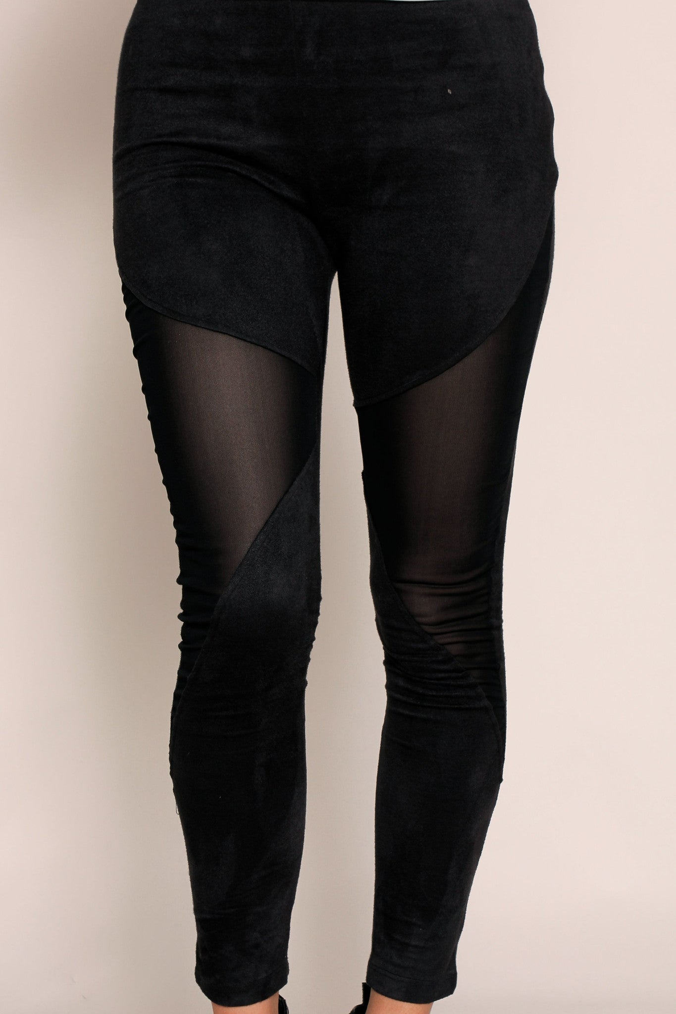Cut Above Mesh Leggings- Black