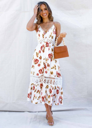 At First Sight Maxi Dress - White Floral