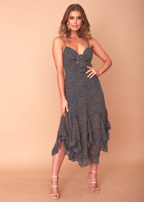 Amie Midi Dress - Navy Spot