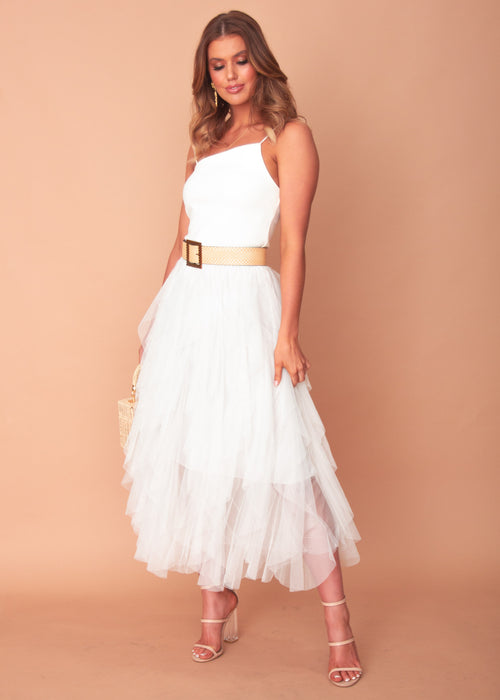 Mystic Skies Midi Skirt - White