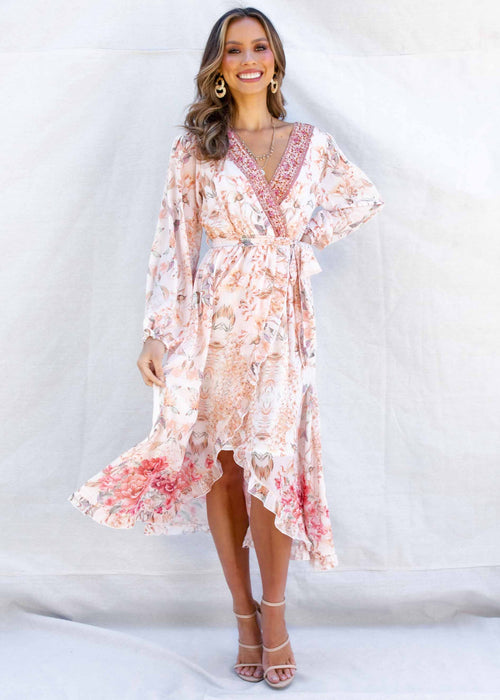 Kya Midi Dress - Peach Floral