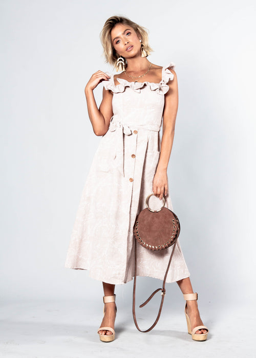 All This Love Midi Dress w/ Tie - Blush Haze