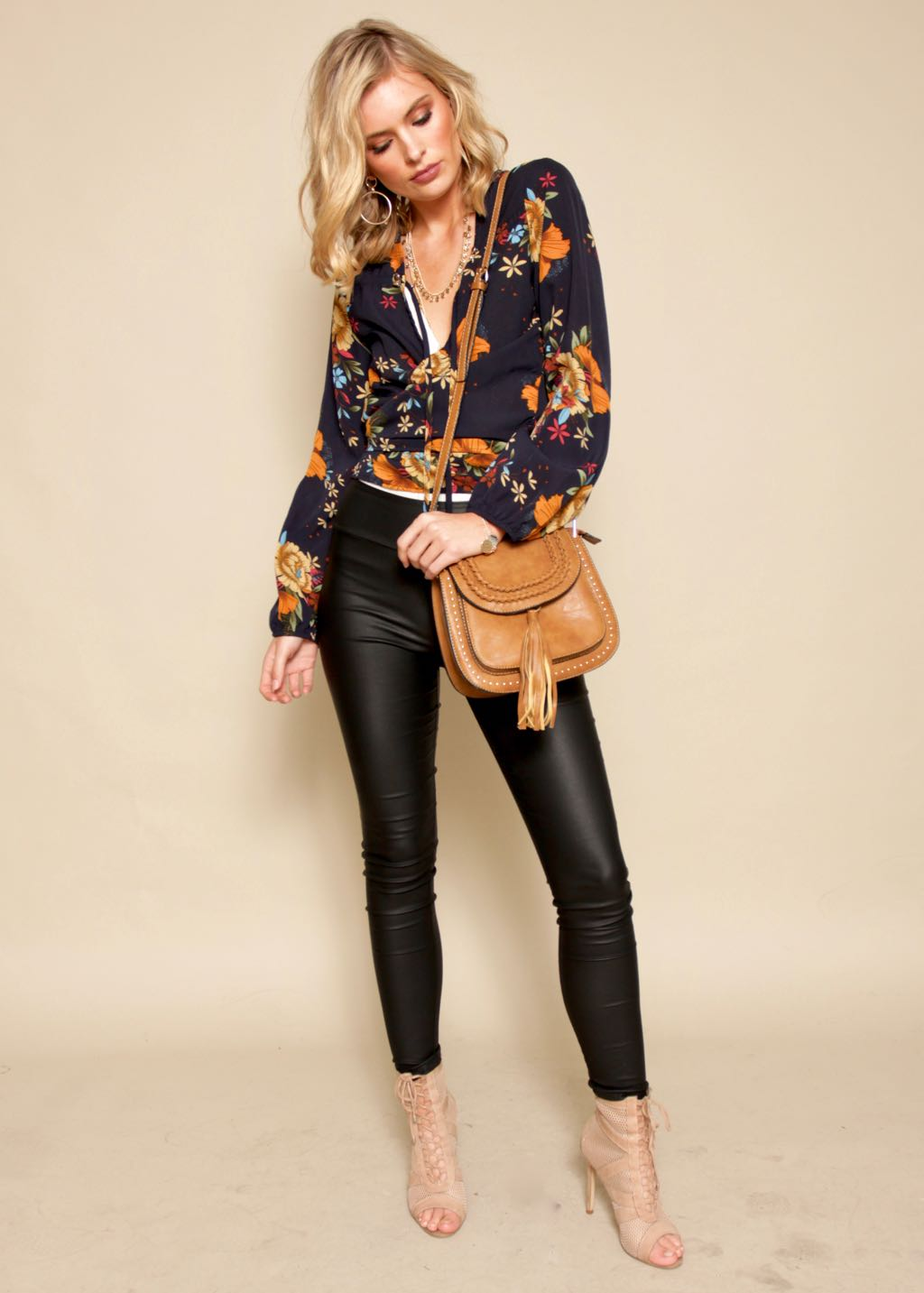 Dancing Dream Tie Blouse - Navy Floral
