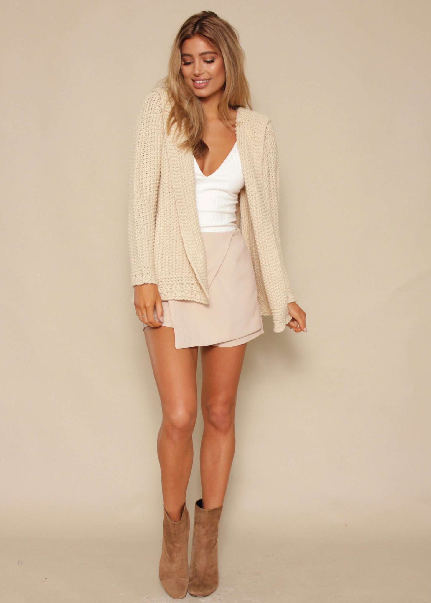 On The Border Hooded Cardi - Cream