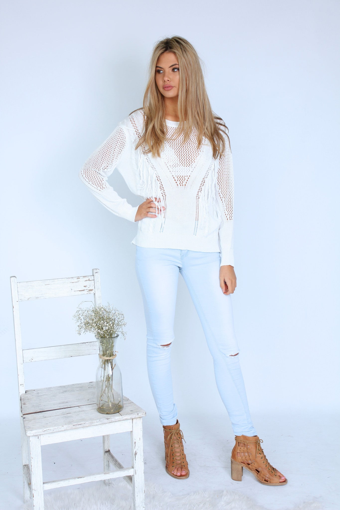 Cuban Tassle Sweater- White