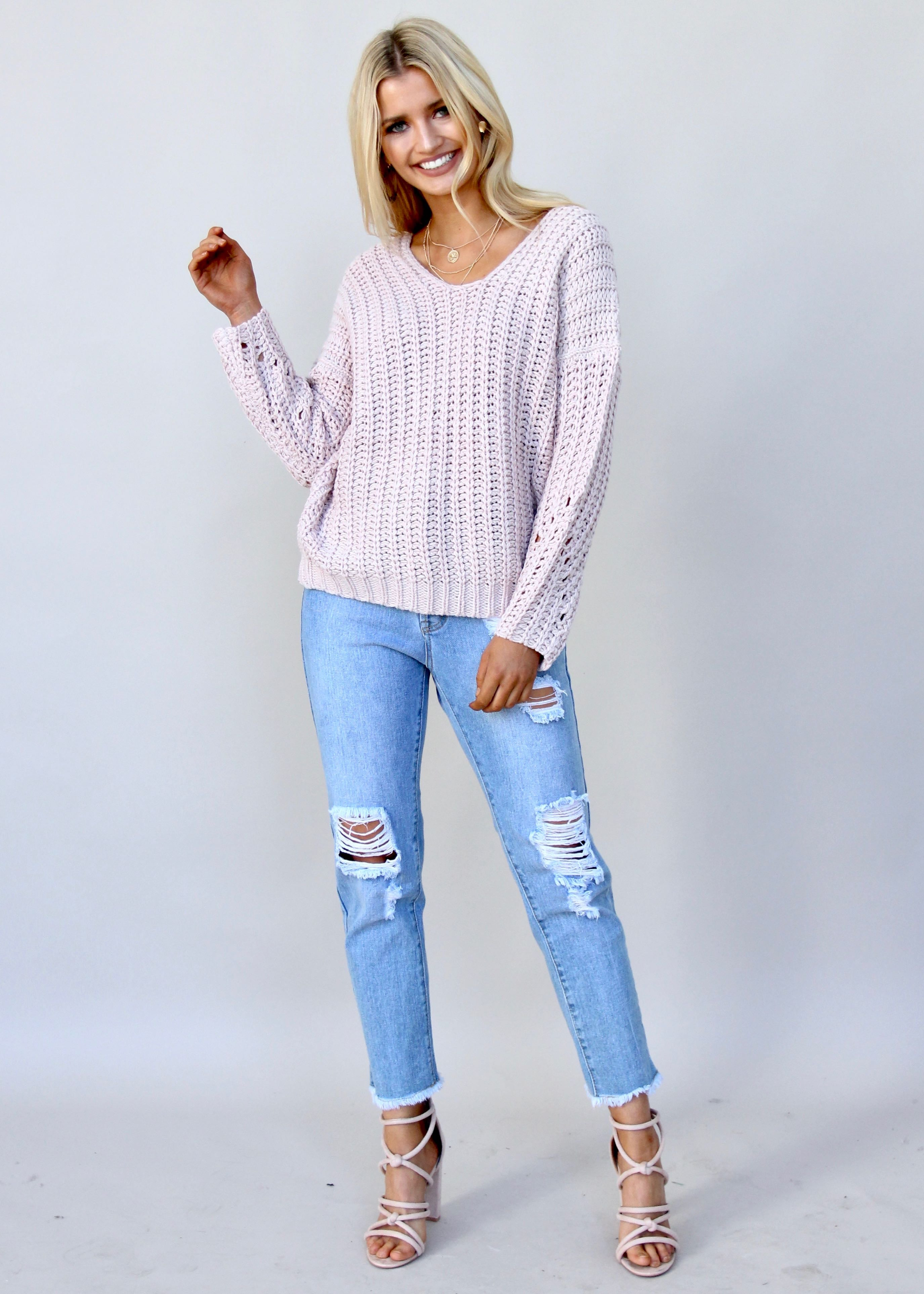 The Next Move Knit Sweater - Dusty Pink