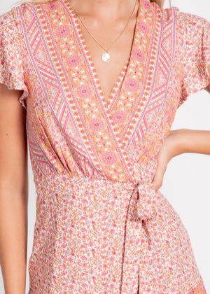 Margot Wrap Dress - Pink Floral