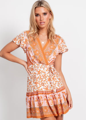 Margot Wrap Dress - Orange/Pink