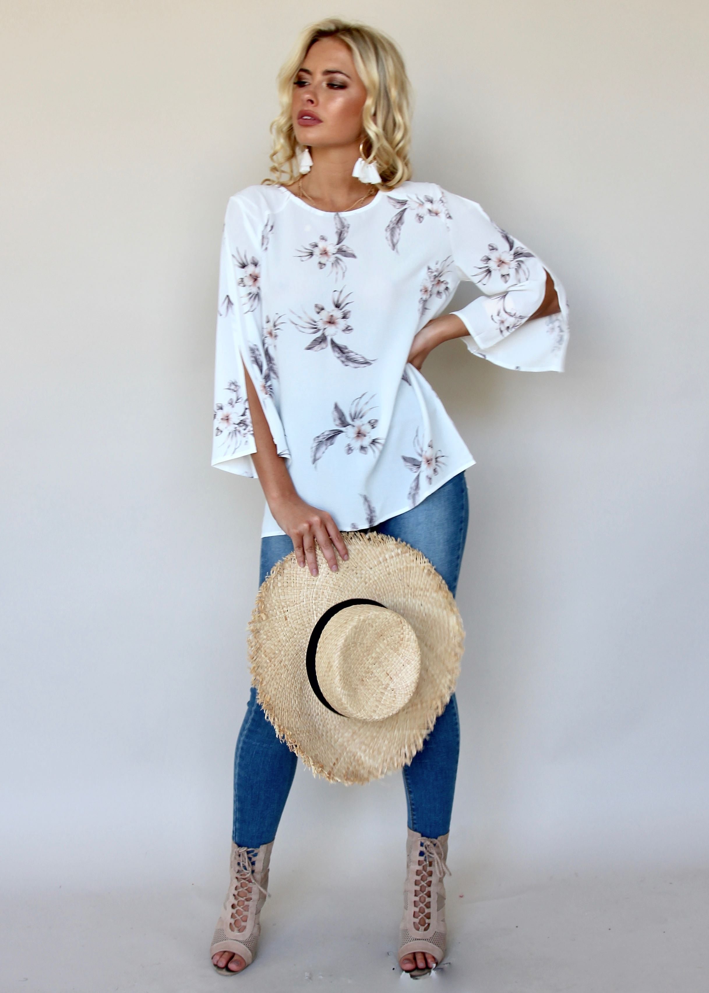 Golden Lights Blouse - White Botanic