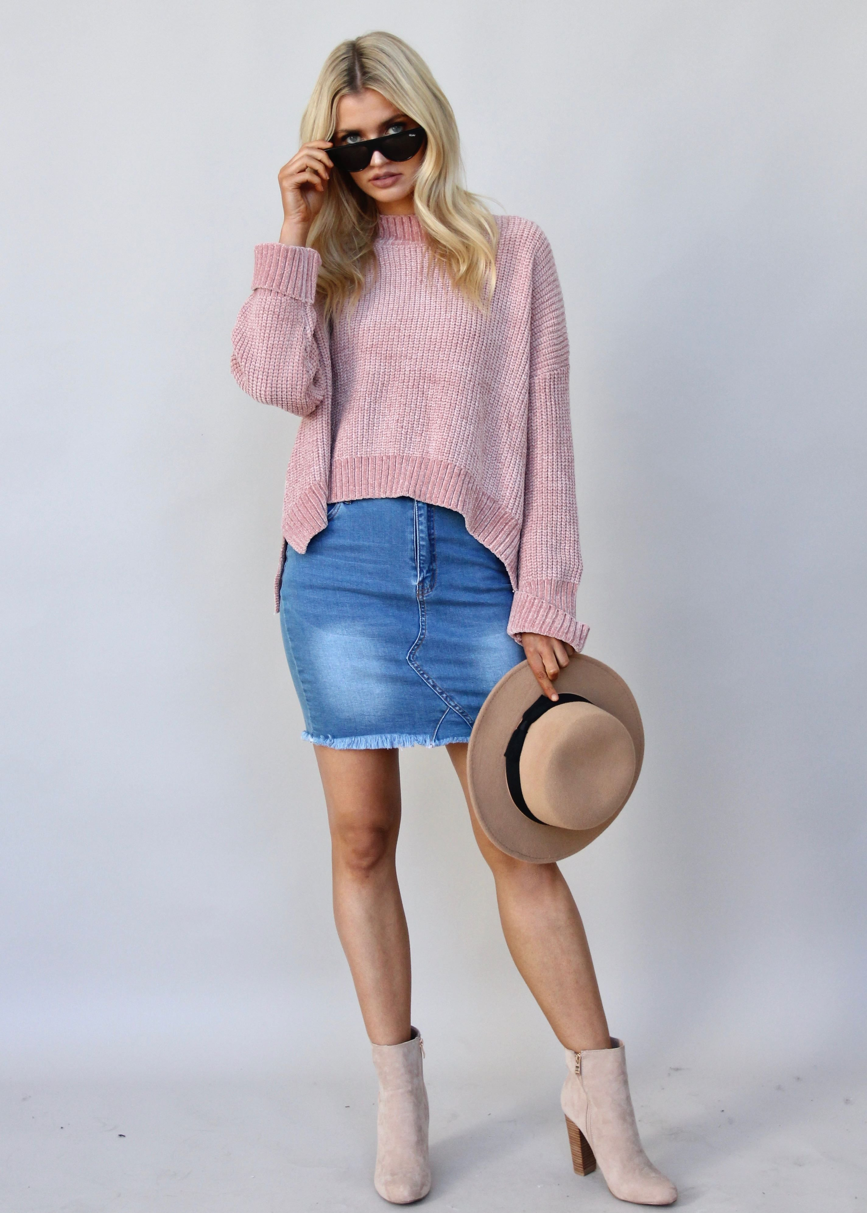 Real Thing Chenille Sweater - Rose