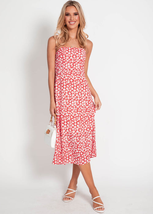 Olena Midi Dress - Red Floral
