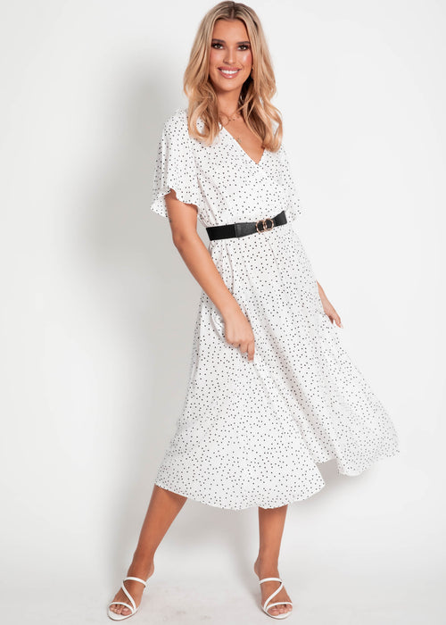 Cove Midi Dress - White Spot
