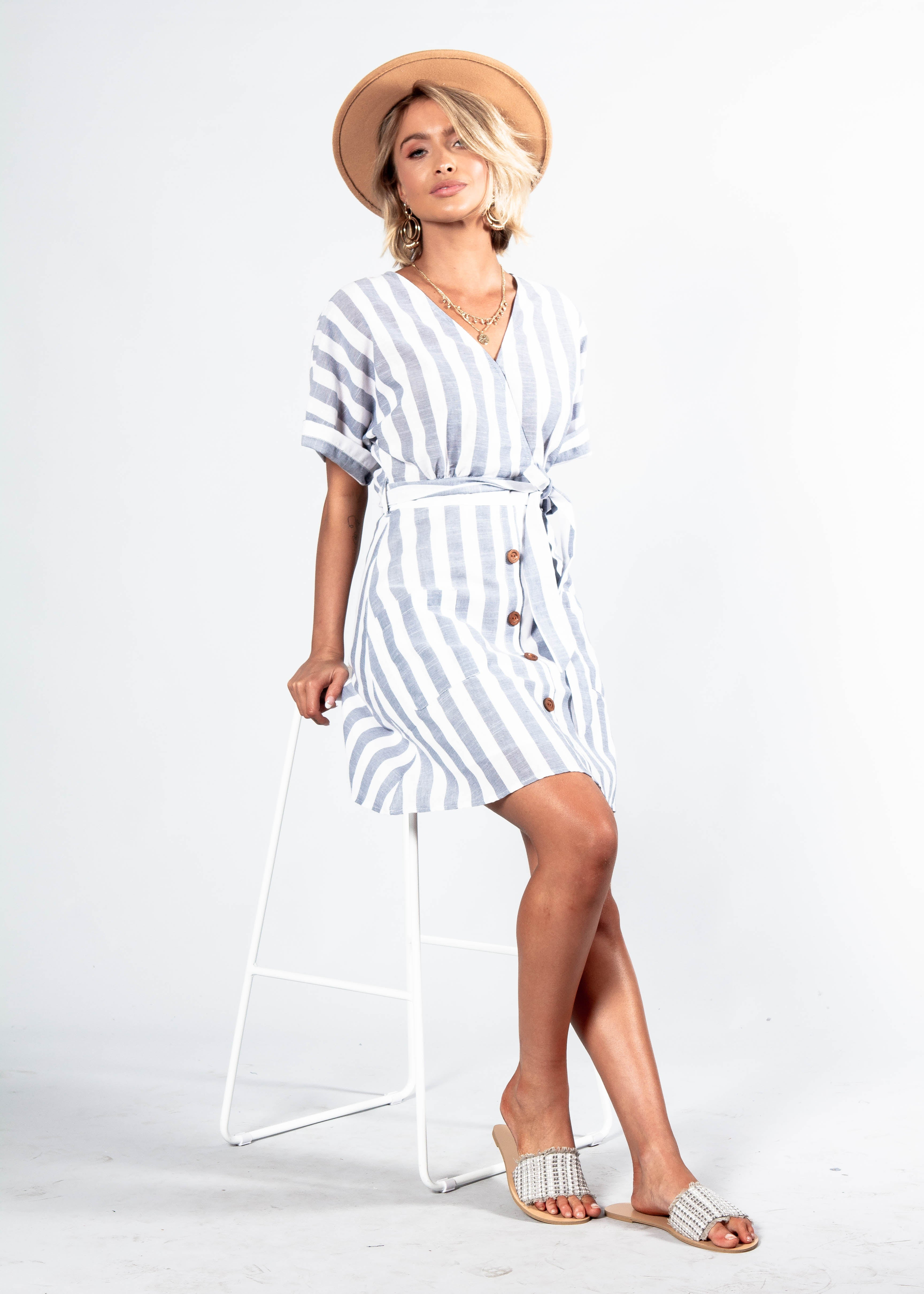 Reyna Dress w/ Tie - Blue Stripe