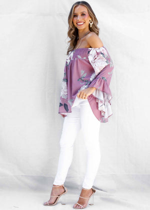 Shreya Off The Shoulder Blouse - Mauve Floral