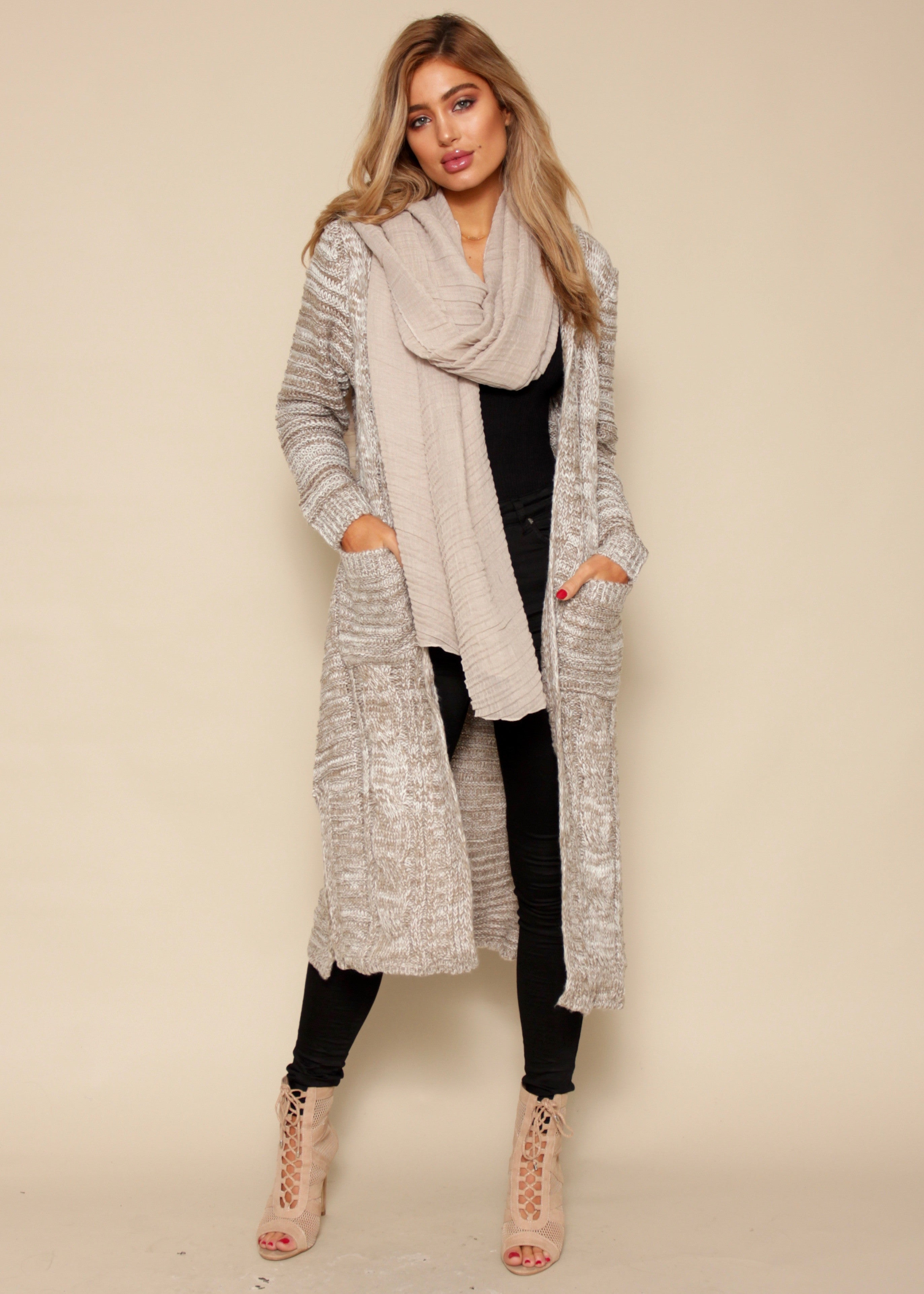 Raw Stone Knit Cardigan - Grey/Brown