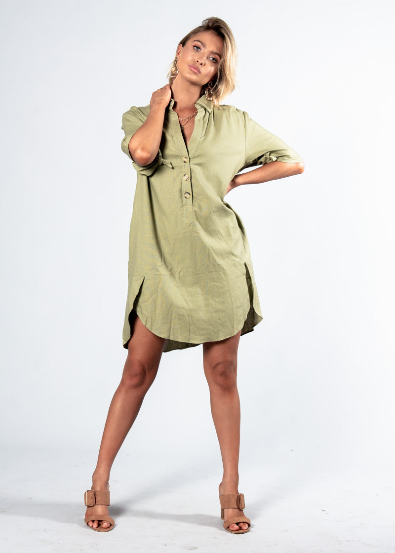 Camryn Linen Shirt Dress - Khaki
