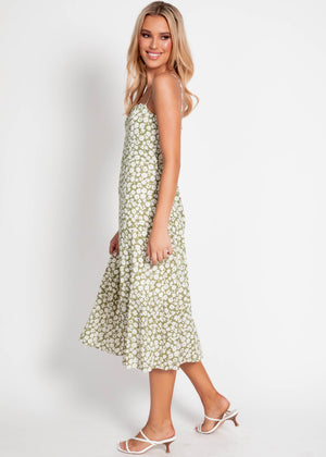 Olena Midi Dress - Khaki Floral