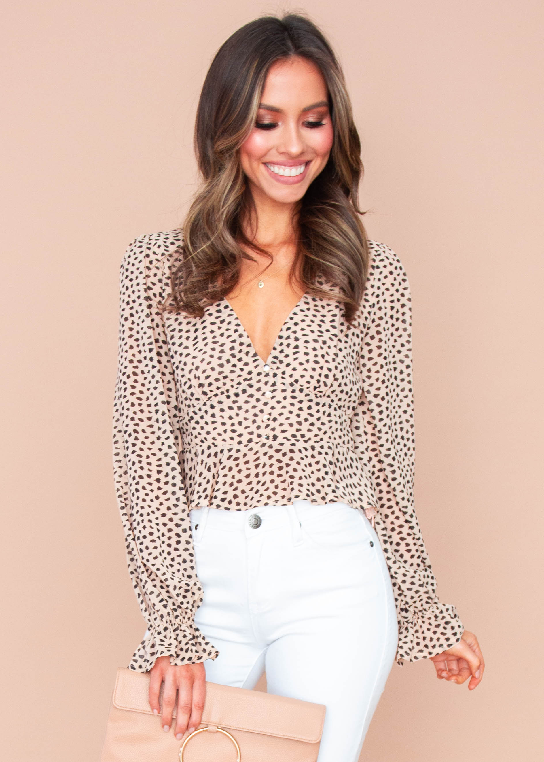 Mikayla Cropped Blouse - Nude Leopard