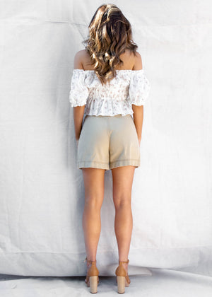 Tropez High Wasted Shorts - Beige