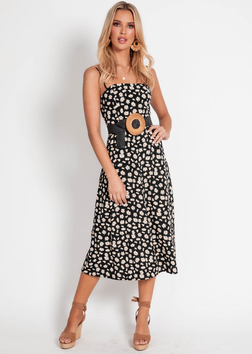 Olena Midi Dress - Black Floral