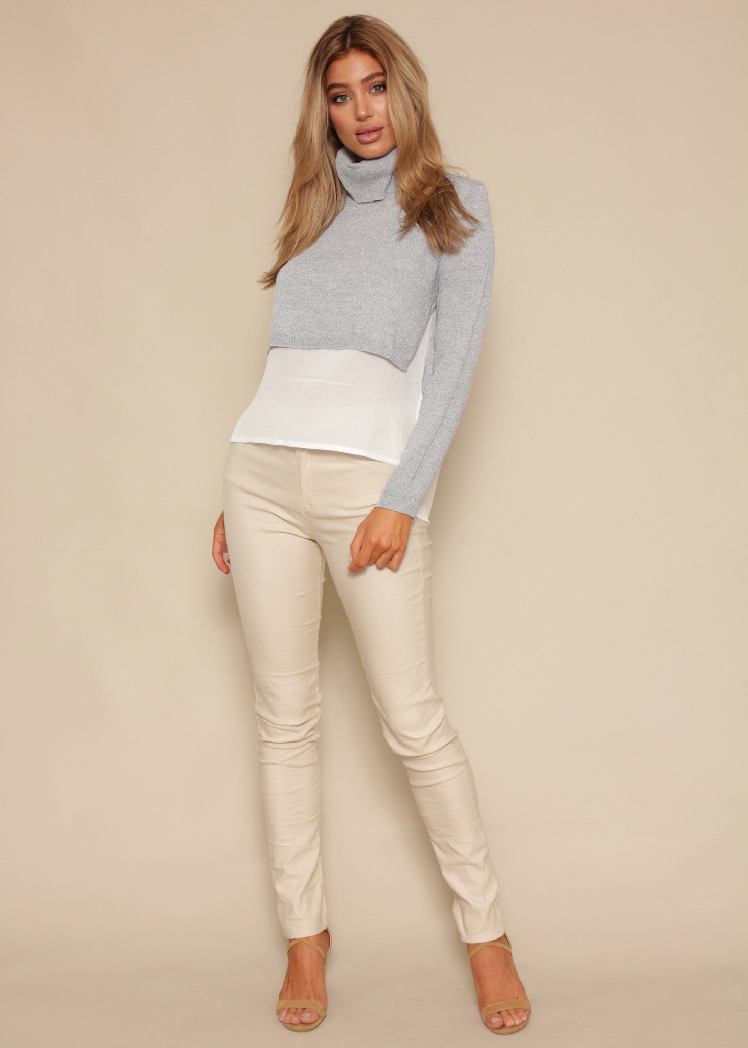 Sun Beam Layered Sweater - Grey Marle