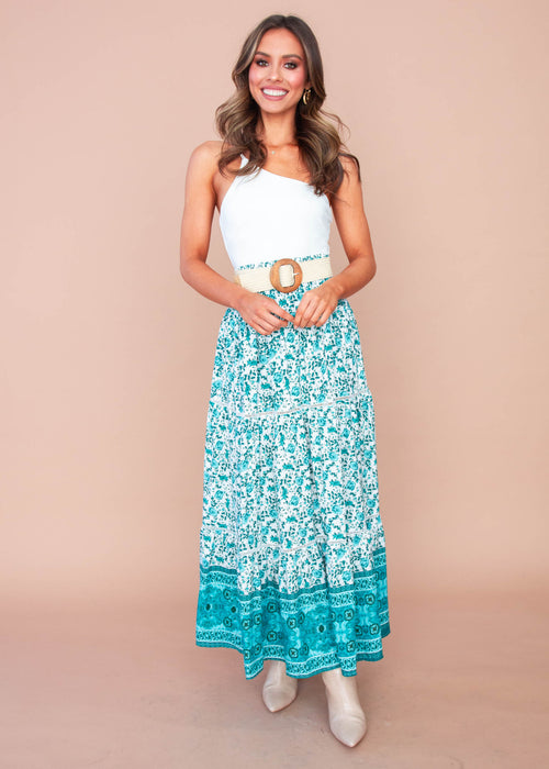 Liloh Maxi Skirt - Teal Floral