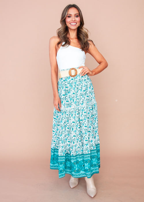 Women's Liloh Maxi Skirt - Teal Floral