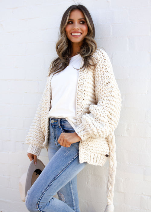 Riley Chunky Knit Cardi - Cream