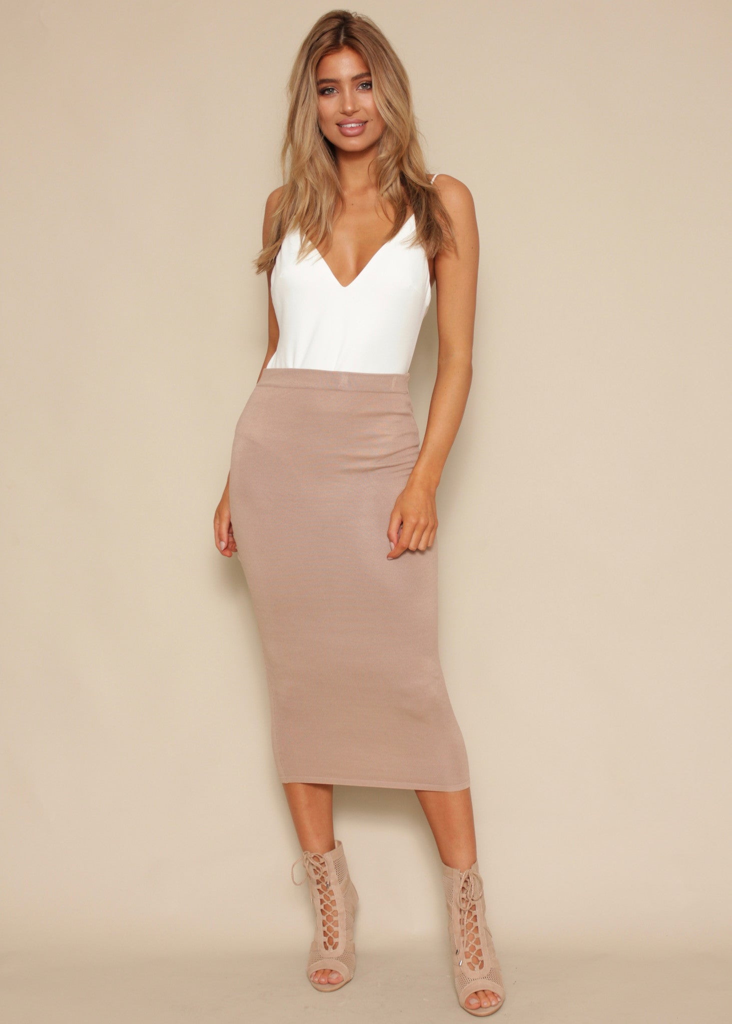 Revolver Knit Skirt - Beige